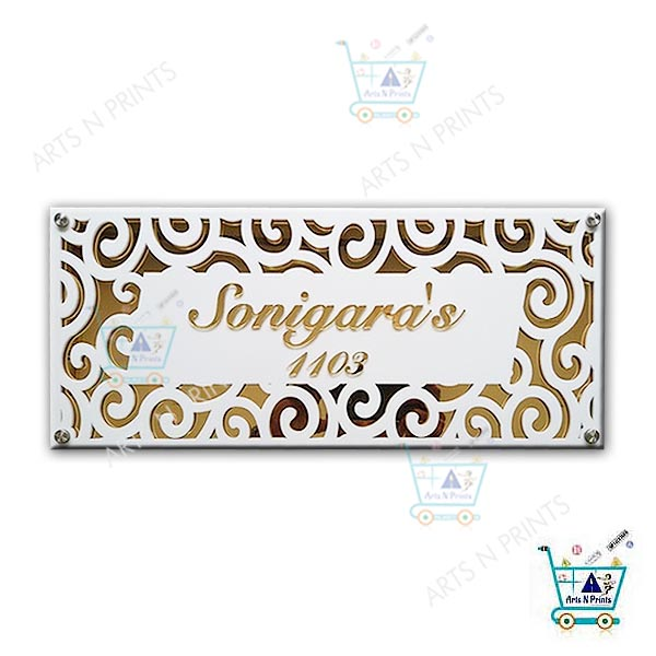 LASER CUT ACRYLIC NAME PLATE MIRROR EFFECT